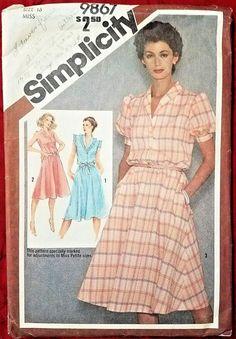 VTG. Sewing Pattern Simplicity 9867 Size 16 Misses Pullover Dress MAKE OFFER