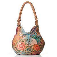 Anuschka Hand Painted Leather Ruched Box Hobo Bag ShopNBC.com