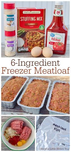 Quick and Easy Freezer Meatloaf – Graceful Little Honey Bee Stock your freezer with this quick and easy freezer meatloaf that only requires It makes a simple freezer meal for busy weeknights. Find the recipe on gracefullittlehon… Freezable Meals, Freezer Friendly Meals, Make Ahead Freezer Meals, Freezer Cooking, Hamburger Freezer Meals, Pioneer Woman Freezer Meals, Hamburger Dishes, Chicken Freezer Meals, Batch Cooking
