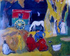 Oepts was dol op zigeunerkampen. Hij heeft daar prachtige schilderijen van gemaakt! Dit is er een van...