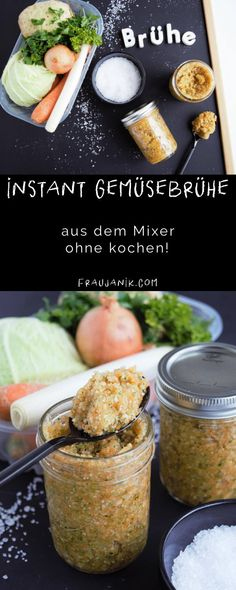make on the spot vegetable broth on the mixer itself, make vegetable bouillon your self, fraujanik Clean Recipes, Cooking Recipes, Healthy Recipes, Yummy Food, Tasty, Family Meals, Vegan Vegetarian, Food To Make, Food And Drink