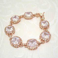 Rose Gold bridal bracelet, Wedding bracelet, Cubic zirconia bracelet, Bridal tennis bracelet, Bridesmaid bracelet