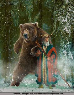Russian Mythology: Slavic Myths and Fairy Tale Art by Howard David Johnson Russian Folk, Russian Art, Russian Mythology, Yule, Legends And Myths, Fairytale Art, Bear Art, Mountain Man, Medieval Fantasy
