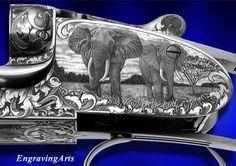 Bulino Elephant scene gun Adone T. Watch Engraving, Metal Engraving, Best Hunting Knives, Hunting Guns, Big Guns, Cool Guns, Rifles, Elephant World, Gun Art
