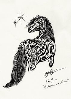 Echoes in Time – Custom Horse Tattoo by ~MyOwnEnchantment on deviantART. This is an awesome pice of art, probably wouldn't get it tattooed on me but its still cool | best stuff
