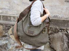 Large Capacity Shoulder Bag Leather Canvas Bag (21)