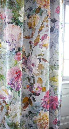 Designers Guild Marianne floral fabric to order from Dible and Roy 01225 862320 Drop Cloth Curtains, Floral Curtains, Colorful Curtains, Diy Curtains, Curtain Fabric, Floral Fabric, Bedroom Curtains, Bright Curtains, Patterned Curtains
