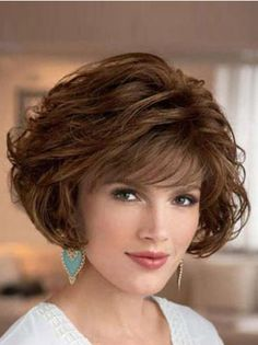 UK Synthetic Wigs Bobs Cut Short Length Brown Color Wavy Style