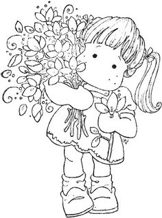 Sweet Crazy Love 2012 - Tilda Loves Flowers Coloring Book Pages, Coloring Sheets, Little Girl Pictures, Magnolias, Copics, Digital Stamps, Colorful Pictures, Clipart, Digital Image
