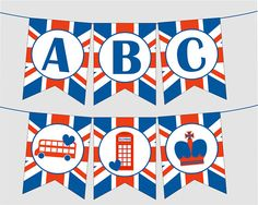 Printable Union Jack Banner with FULL ALPHABET, Numbers, London Calling. Instant Digital Download. For London Party, England Party, Paddington Party