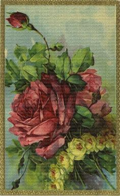 Attic Roses Series 7197 Red Roses-Roses, Vintage, Victorian, Old, Antique, Catherine Klein, Paul, DeLongpre, Pink, Blooms, Pansies, Vi