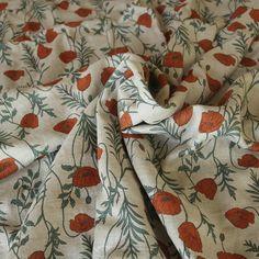 Hokkoh Orange Poppies Arrow Fabric, Orange Poppy, Arrows, Poppies, Fabrics, Japanese, Quilts, Green, Tejidos