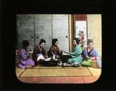 Five girls have a meal :: Japanese Lantern Slides (Dominican University)