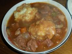Beef Stew with Dumplings 6 slices bacon, chopped 1 lb. beef stew meat 1 large o. Beef Stew with Dumplings 6 slices bacon, chopped 1 lb. Beef Dishes, Food Dishes, Food Food, Main Dishes, Side Dishes, Meat Recipes, Cooking Recipes, What's Cooking, Recipes