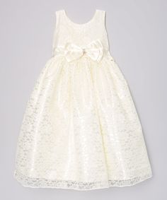 Another great find on #zulily! Ivory Brocade Lace Dress - Toddler & Girls #zulilyfinds