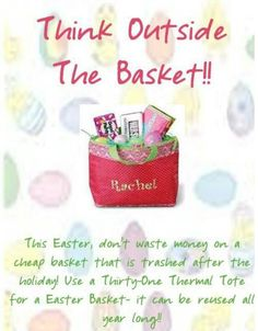 Thirty One Easter Basket ! Then you can use this Thermal Tote after Easter… Thirty One Party, Thirty One Gifts, Thirty One Thermal, Cheap Baskets, Thirty One Uses, Thirty One Business, Thirty One Consultant, 31 Gifts, Organize Your Life