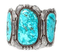 A Navajo Silver and Turquoise Cuff Bracelet Length 5 3/8 x opening 1 x widt