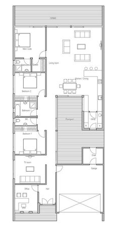 Contemporary home plan with private courtyard. Open planning, suitable to narrow lot. Three bedroom house plan.: