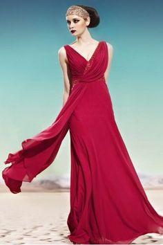 Amazing Couture Dark Red Draped Evening Dress - CA430