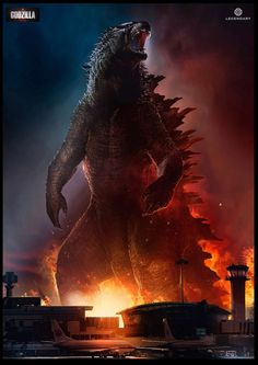 """Conceptual illustrator, Dominic Lavery (""""Priest""""), has updated his website with concept art that he created for Warner Bros. and Legendary's Godzilla. King Kong Vs Godzilla, Godzilla Godzilla, All Godzilla Monsters, Godzilla Wallpaper, Japanese Film, Classic Monsters, Creature Feature, T Rex, Animes Wallpapers"""
