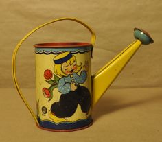 Vintage Litho Tin Ohio Art Child's Watering Can Dutch Girl & Boy Gardening Watering Can, 1940s, Art For Kids, Dutch, Ohio, Gardening, Canning, Children, Boys
