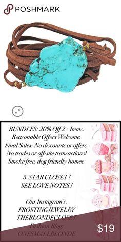1d107e205d TURQUOISE   LEATHER WRAP BRACELET Turquoise   Leather Wrap Bracelet or  Choker Tan
