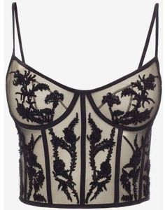 Shop Women's Embroidered Bustier Top from the official online store of iconic fashion designer Alexander McQueen. White Bustier Top, Sequin Crop Top, Sequin Shirt, Crop Shirt, Bustiers, Alexander Mcqueen, Corset Style Tops, Corset Tops, Corset Dresses