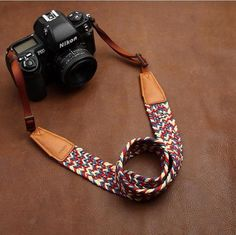 Weaving Style Purple Handmade Leather Camera Strap 8782