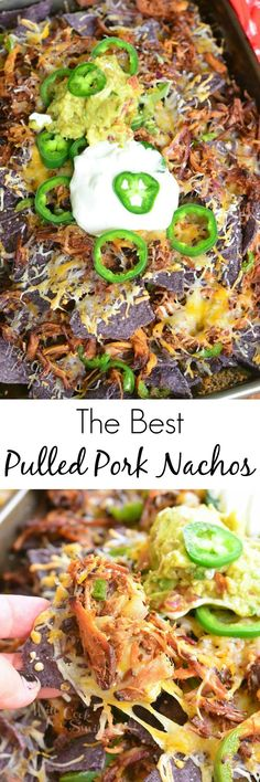The Best Pulled Pork Nachos. Simple pulled pork nachos where pork is the star. from willcookforsmiles.com #snack #pork