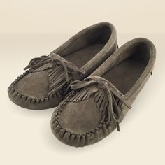 Women's Fringe Suede Leather Moccasin Slippers - Charcoal - 160
