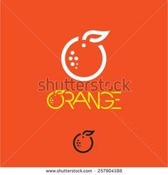 Orange icon. Mandarin icon. Mandarin orange label.