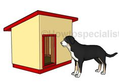 Large Dog House - Step by step Plans | HowToSpecialist - How to Build, Step by Step DIY Plans Xl Dog House, Pallet Dog House, Build A Dog House, Farm House, Large Insulated Dog House, House Roof, Large Dogs, Large Dog House Plans, Extra Large Dog House