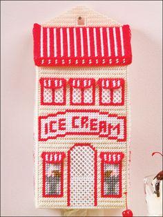Ice Cream Parlor Plastic Bag Holder $2.49 Plastic Canvas Crafts, Plastic Canvas Patterns, Plastic Bag Holders, Bag Hanger, Yarn Storage, Paper Crafts, Diy Crafts, Needlepoint, Needlework