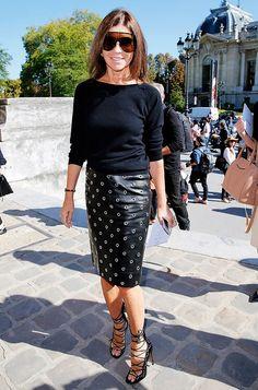 Leather midi skirt + black strappy heels