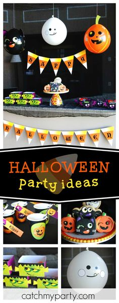 Check out this fun Candy Halloween party. The cookies are awesome!!  See more party ideas and share yours at CatchMyParty.com #halloween #halloweenparty