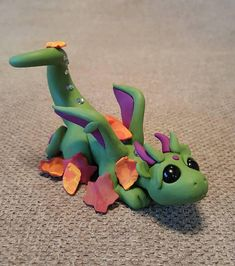 Dragon Playing in the Leaves- Polymer Clay by Leah Sanchez
