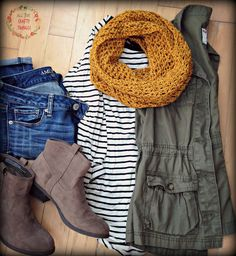 Mustard Scarf, Striped Tee, Green Cargo Vest
