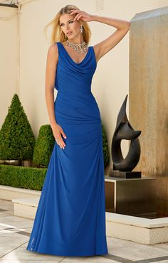 cowl neck sleeveless pleated chiffon long royal blue bridesmaid dress