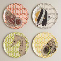 Sea Life Waterfront Plates, Set of 4