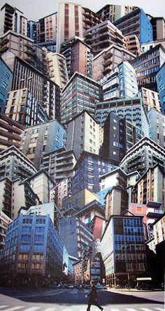 GIACOMO COSTA Florence His production includes Agglomerati, kaleidoscopic accumulations of urban buildings; Paesaggi (Landscapes), which features countryside or urban landscapes from where enormous monoliths stem out; Palazzi (Palaces), - Another! Photomontage, Kino Snacks, Movie Theater Snacks, Collage Kunst, City Collage, Collage Collage, Level Design, Plakat Design, Magazine Collage