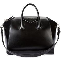 Womens Shoulder Bags Givenchy Antigona Medium Black Leather Tote found on Polyvore