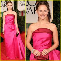 Red and pink is one of my favorite combinations.  Natalie Portman, 2012 Golden Globe Awards, Lanvin.