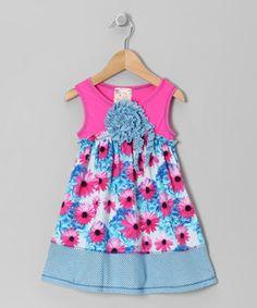 Loving this Fuchsia & Turquoise Daisy Blossom Dress - Girls on #zulily! #zulilyfinds