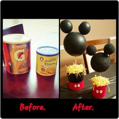 DIY Mickey Mouse centerpieces I made for my sons 1st birthday party