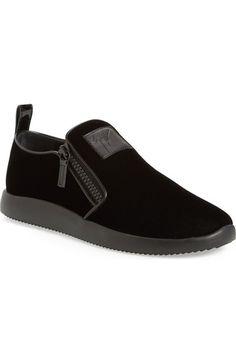GIUSEPPE ZANOTTI Velvet Slip-On Sneaker (Men). #giuseppezanotti #shoes #