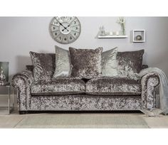 Marilyn 3 Seater Crushed Velvet Sofa   Silver (Grey)