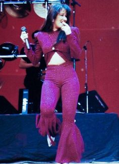Selena Quintanilla in concert at the Houston Livestock And Rodeo Show in the Houston Astrodome in 1995