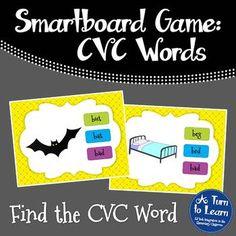CVC Words: Find the CVC Word Game for Smartboard/Promethean Board!