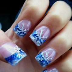 Make your nails beautiful with some snowflakes, stars or just simple red nail polish. Blue Nail Designs, French Nail Designs, Acrylic Nail Designs, Acrylic Nails, Acrylics, Xmas Nails, Holiday Nails, Christmas Nails, Diy Nails