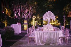 White centerpieces capture the light like no others. Wedding by Monte-Carlo Weddings.